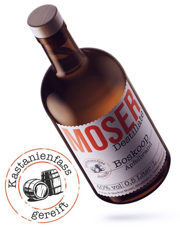 Moser Destillate Boskoop Apfelbrand gereift im Kastanienfass