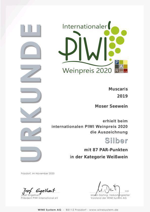 Urkunde Int. PIWI Preis